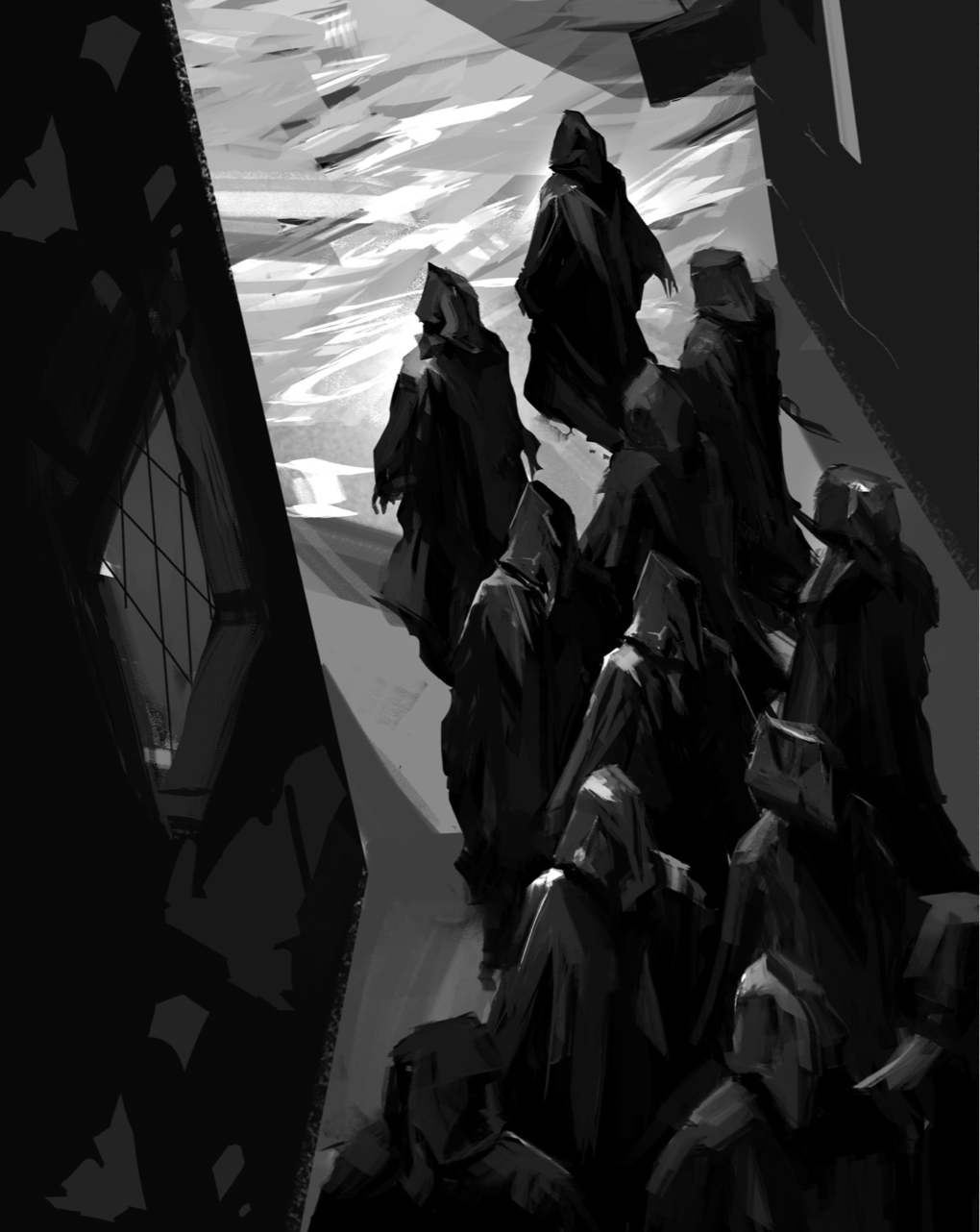 Cloaked figures…
